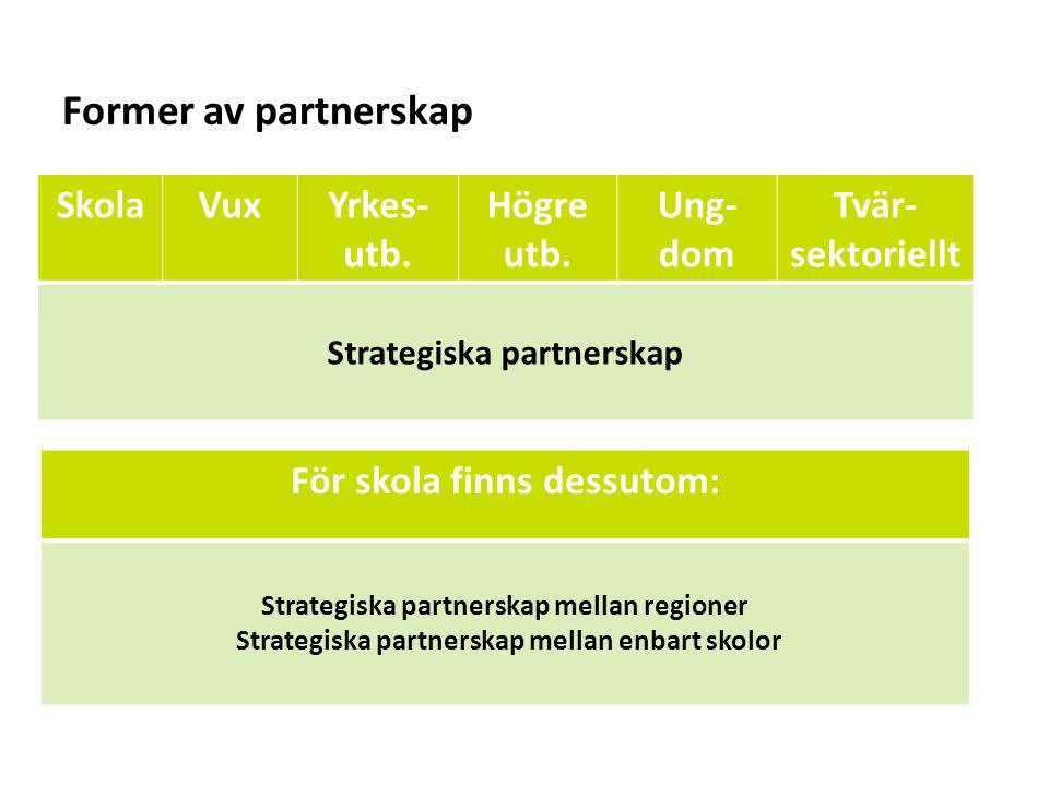Former av partnerskap Skola Vux Yrkes-utb. Högre utb. Ung-dom