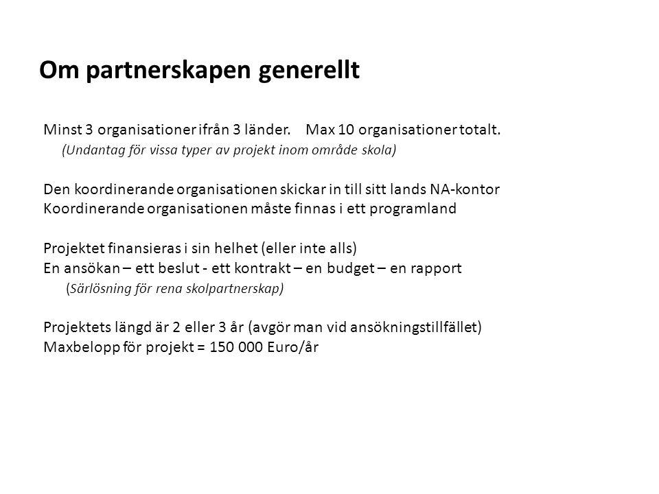 Om partnerskapen generellt
