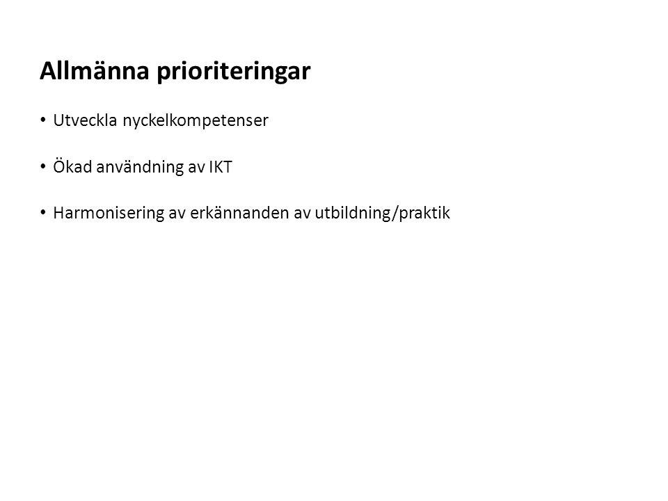 Allmänna prioriteringar