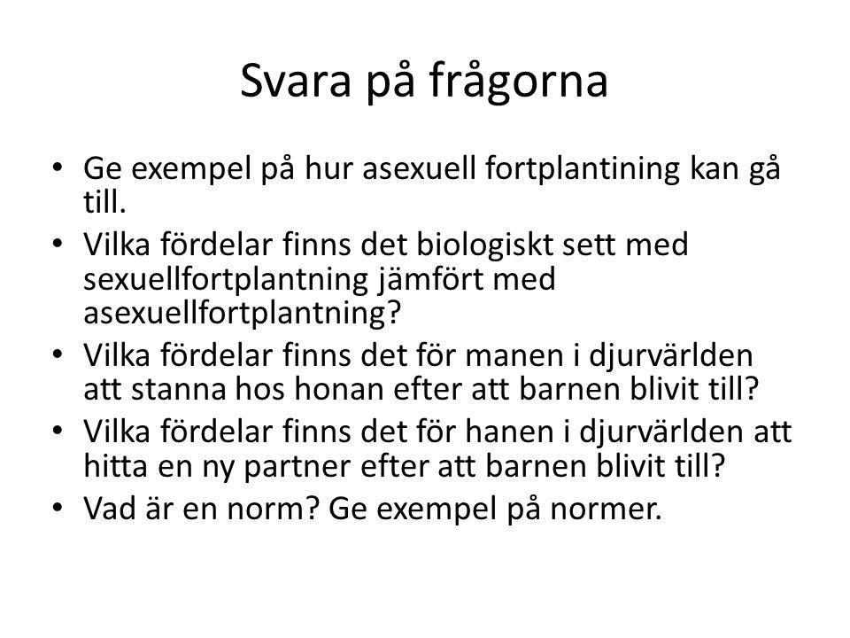 Svara på frågorna Ge exempel på hur asexuell fortplantining kan gå till.