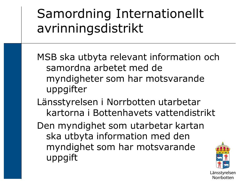 Samordning Internationellt avrinningsdistrikt