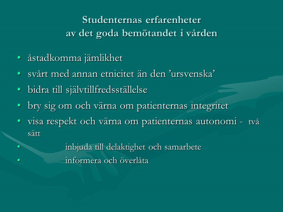 Studenternas erfarenheter av det goda bemötandet i vården