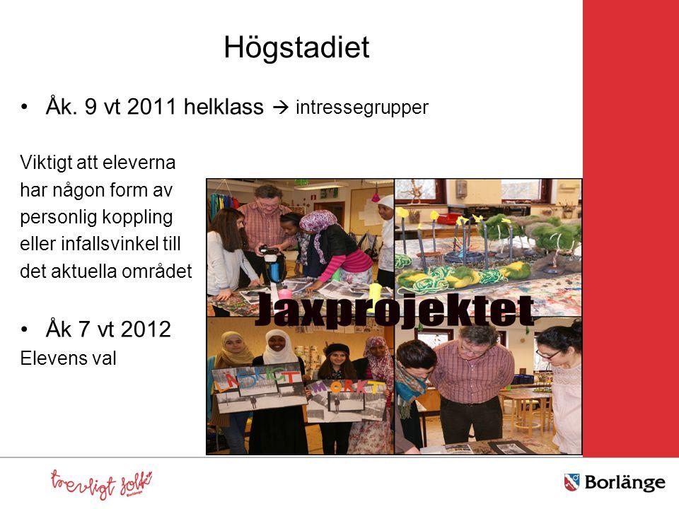 Högstadiet Åk. 9 vt 2011 helklass  intressegrupper Åk 7 vt 2012