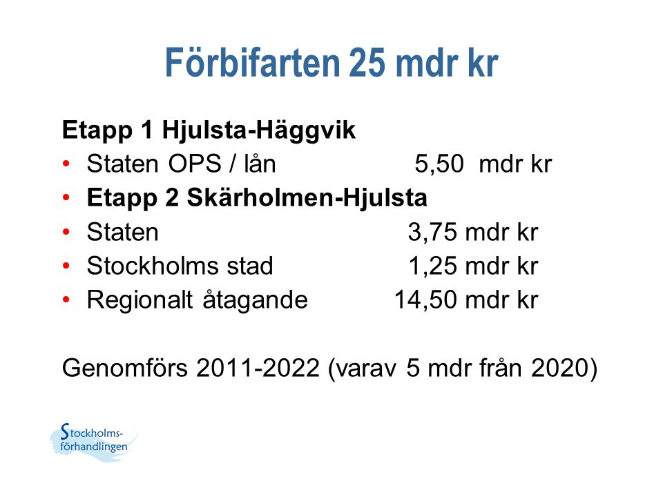 Förbifarten 25 mdr kr Etapp 1 Hjulsta-Häggvik