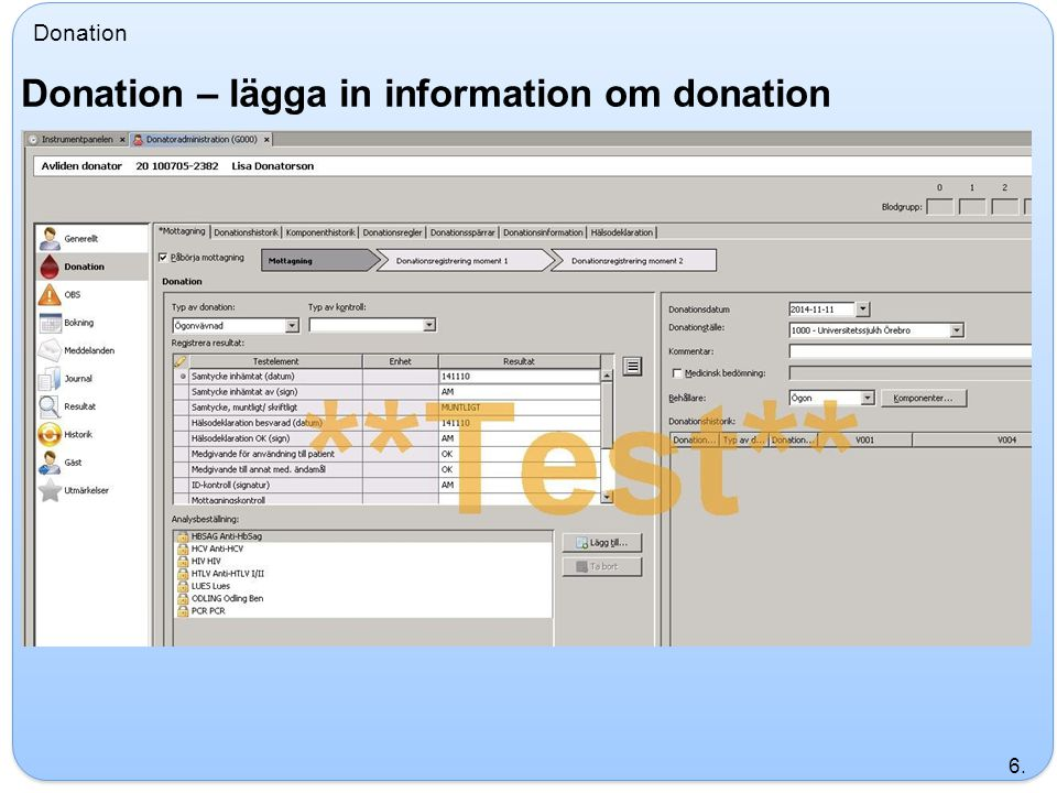 Donation – lägga in information om donation