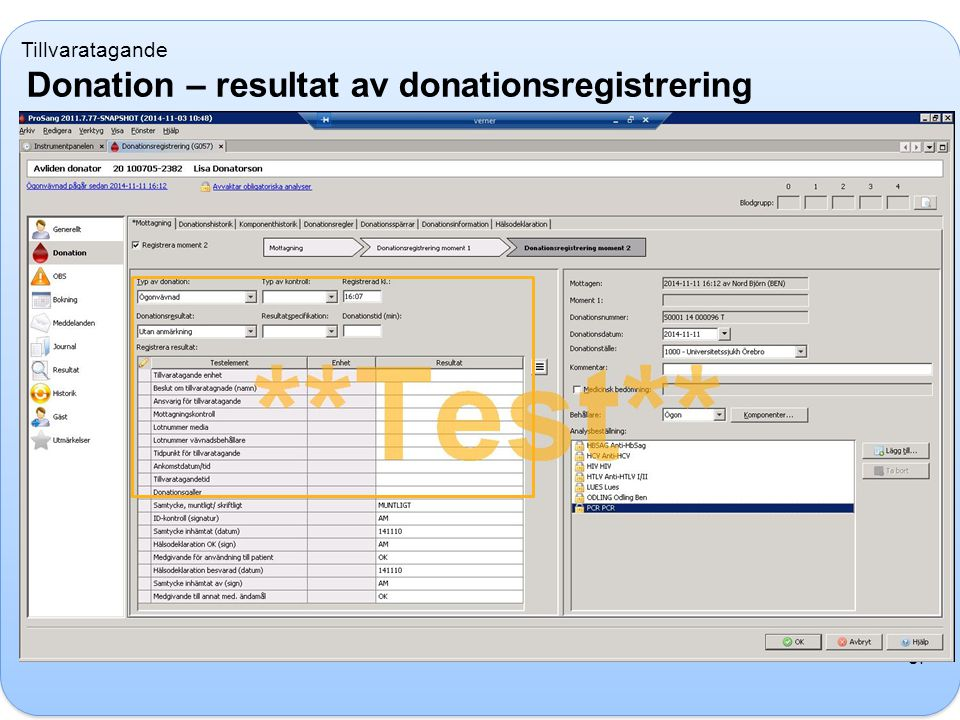 Donation – resultat av donationsregistrering