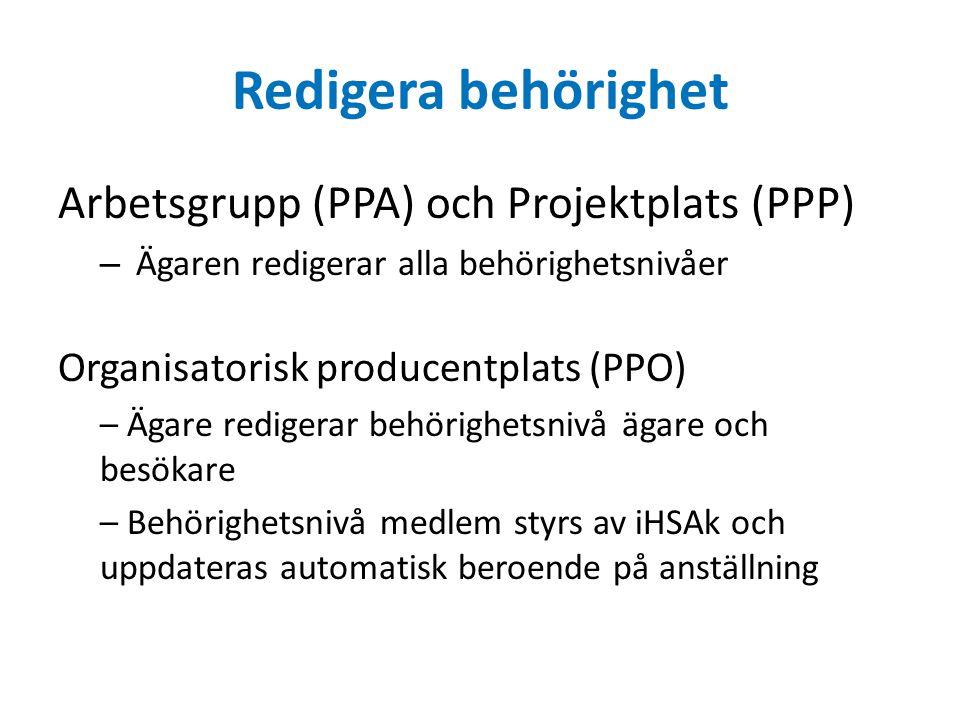 Redigera behörighet Arbetsgrupp (PPA) och Projektplats (PPP)