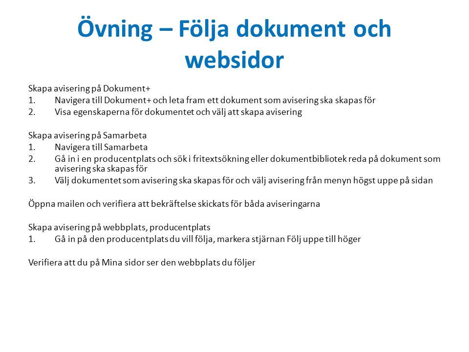 Övning – Följa dokument och websidor