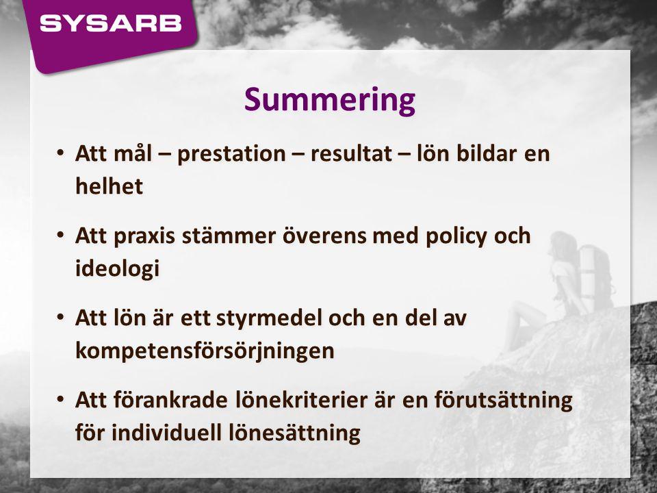 Summering Att mål – prestation – resultat – lön bildar en helhet
