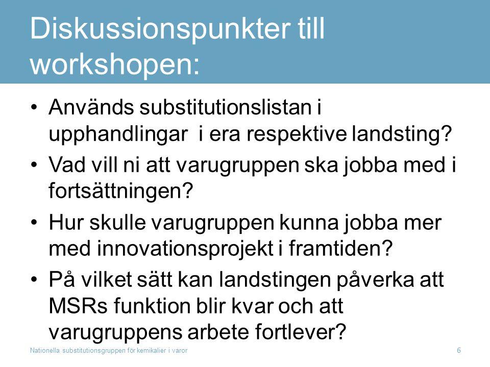 Diskussionspunkter till workshopen: