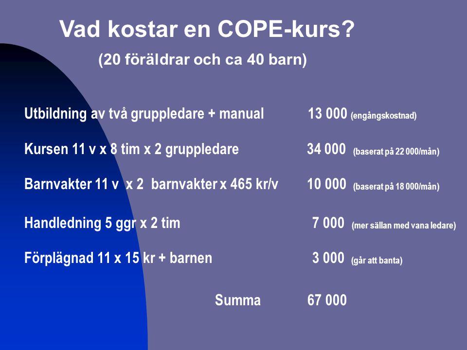 Vad kostar en COPE-kurs (20 föräldrar och ca 40 barn)