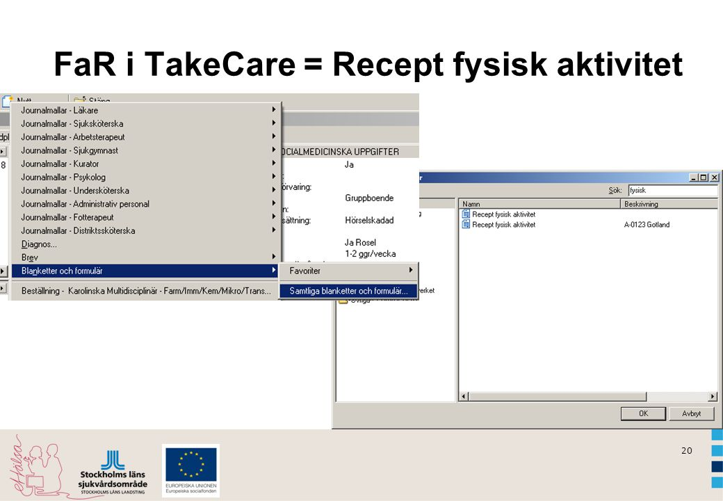 FaR i TakeCare = Recept fysisk aktivitet