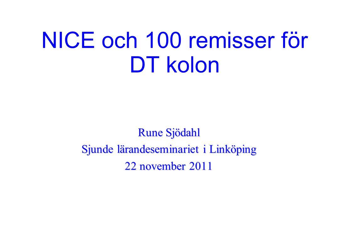 NICE och 100 remisser för DT kolon