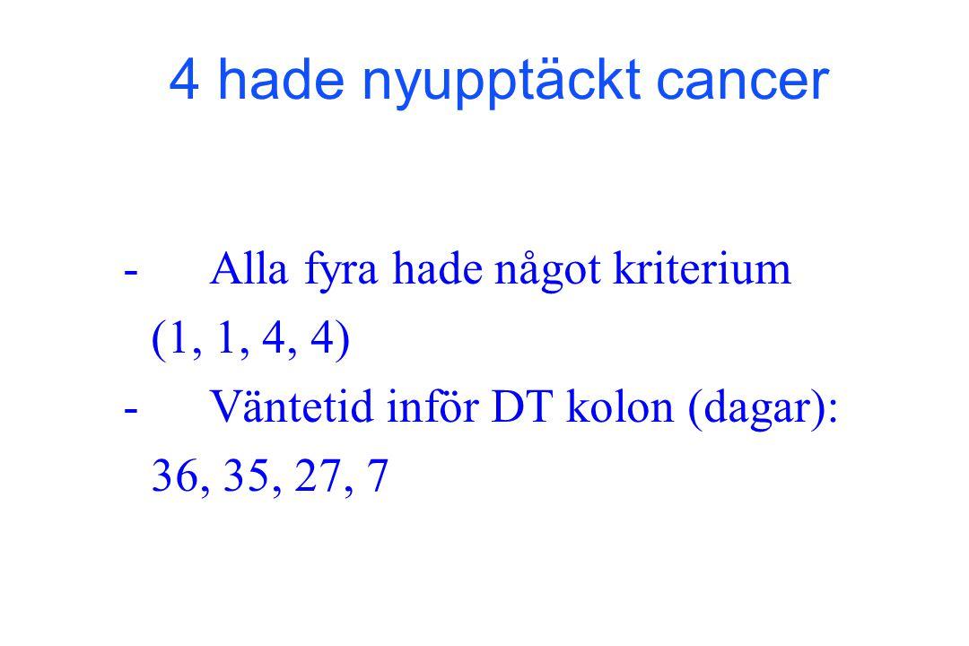 4 hade nyupptäckt cancer