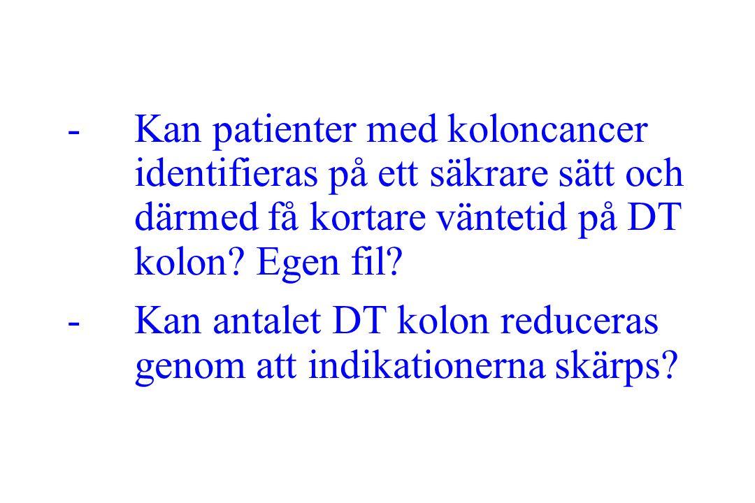 Kan patienter med koloncancer identifieras på ett säkrare sätt och därmed få kortare väntetid på DT kolon Egen fil