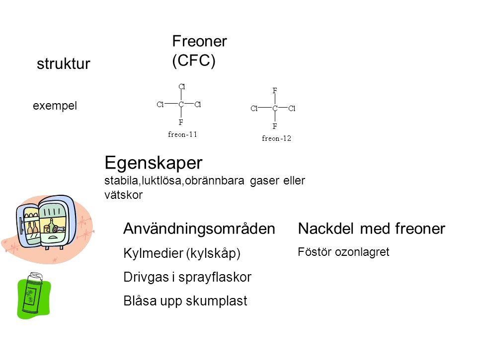 Egenskaper stabila,luktlösa,obrännbara gaser eller vätskor