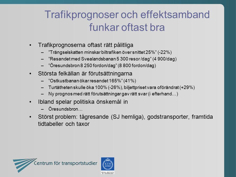 Trafikprognoser och effektsamband funkar oftast bra