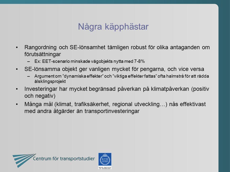 Några käpphästar Rangordning och SE-lönsamhet tämligen robust för olika antaganden om förutsättningar.