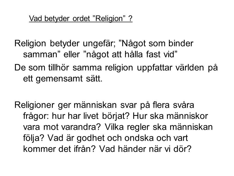 De som tillhör samma religion uppfattar världen på ett gemensamt sätt.