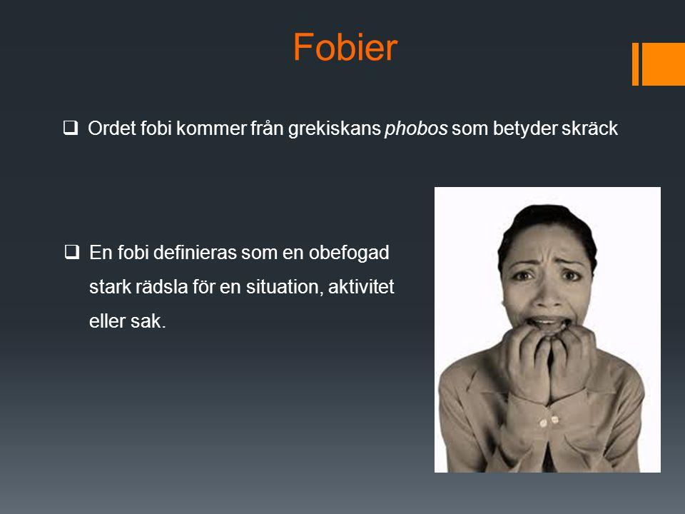 Fobier Ordet fobi kommer från grekiskans phobos som betyder skräck