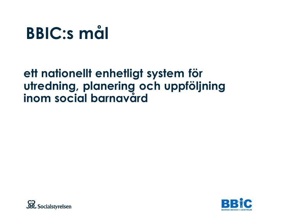 BBIC:s mål ett nationellt enhetligt system för utredning, planering och uppföljning inom social barnavård.