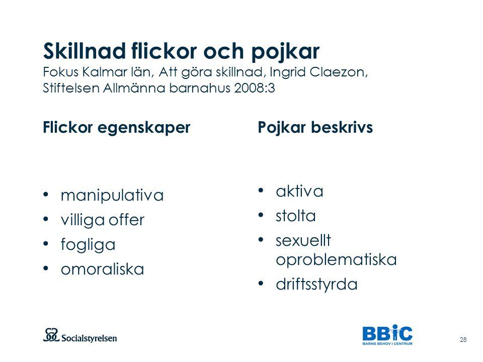Skillnad flickor och pojkar Fokus Kalmar län, Att göra skillnad, Ingrid Claezon, Stiftelsen Allmänna barnahus 2008:3