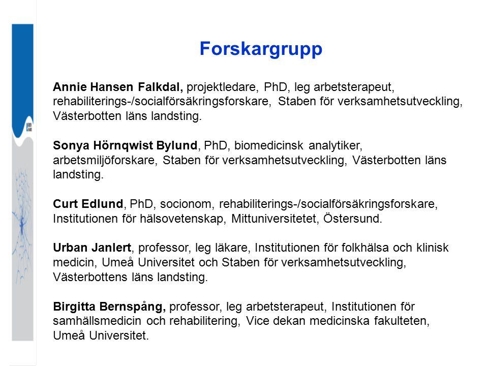 Forskargrupp Annie Hansen Falkdal, projektledare, PhD, leg arbetsterapeut,