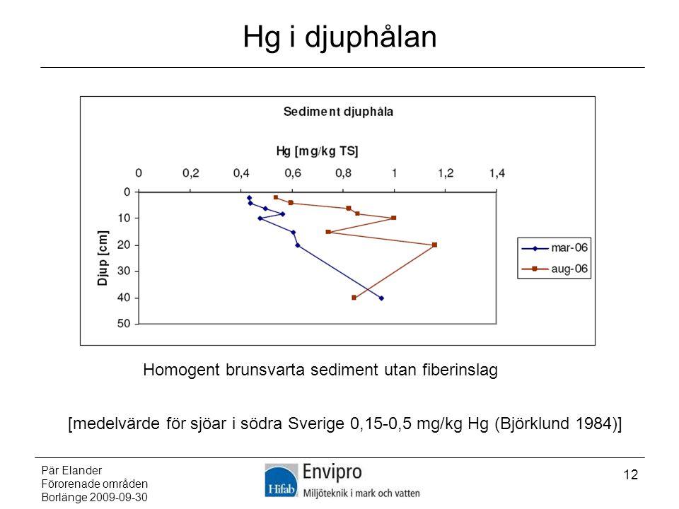 Hg i djuphålan Homogent brunsvarta sediment utan fiberinslag