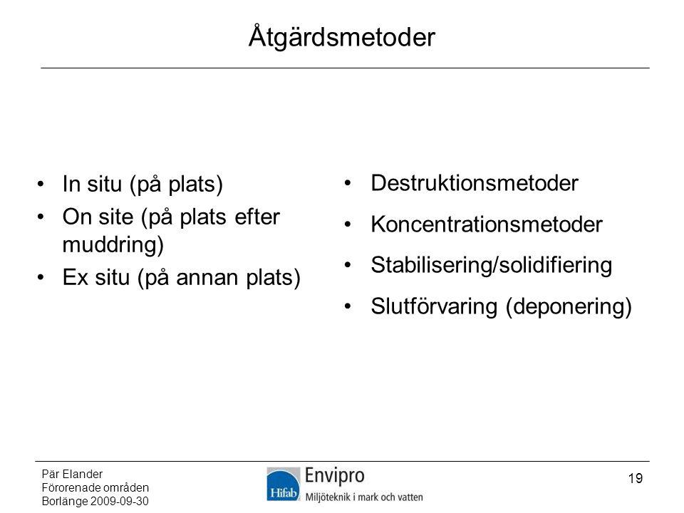 Åtgärdsmetoder In situ (på plats) On site (på plats efter muddring)