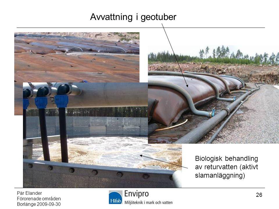 Avvattning i geotuber Biologisk behandling av returvatten (aktivt slamanläggning) Pär Elander. Förorenade områden.