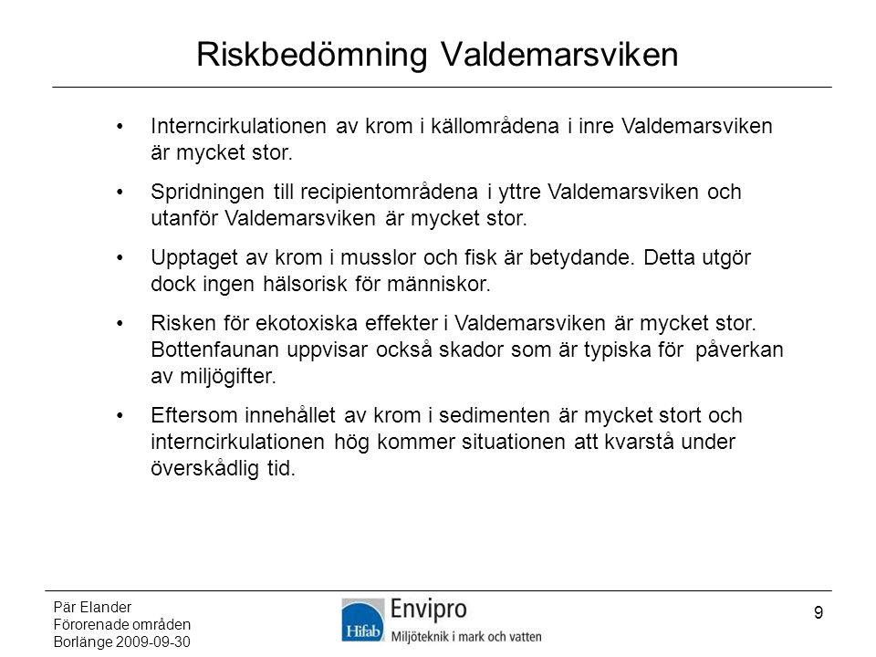 Riskbedömning Valdemarsviken