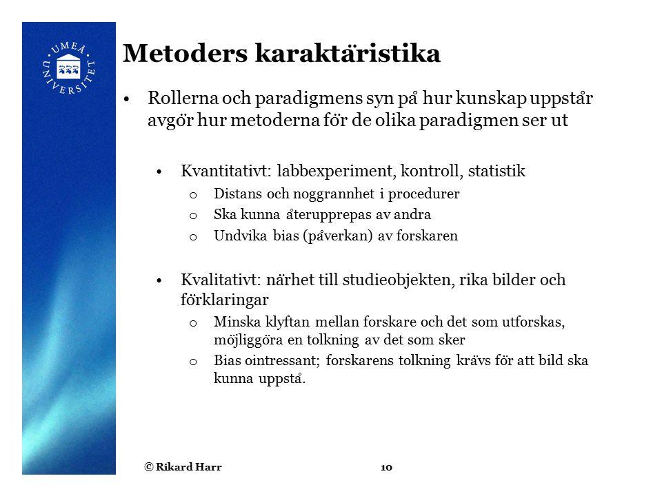 Metoders karaktäristika