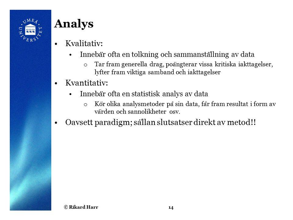 Analys Kvalitativ: Kvantitativ:
