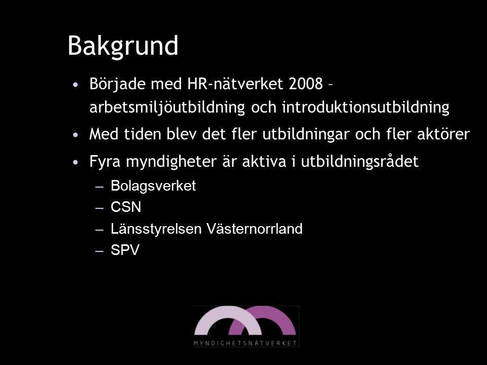 Bakgrund Började med HR-nätverket 2008 –arbetsmiljöutbildning och introduktionsutbildning. Med tiden blev det fler utbildningar och fler aktörer.