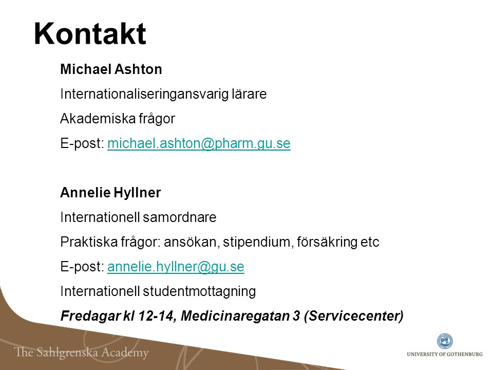 Kontakt Michael Ashton Internationaliseringansvarig lärare