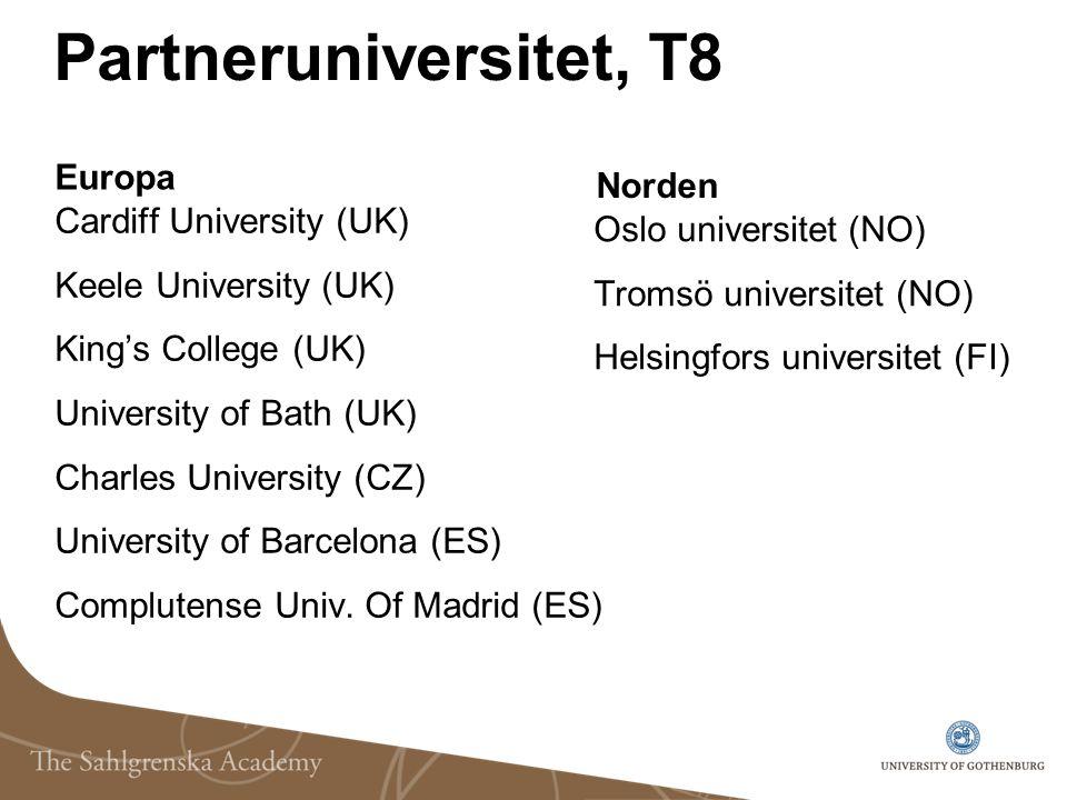 Partneruniversitet, T8 Europa Norden