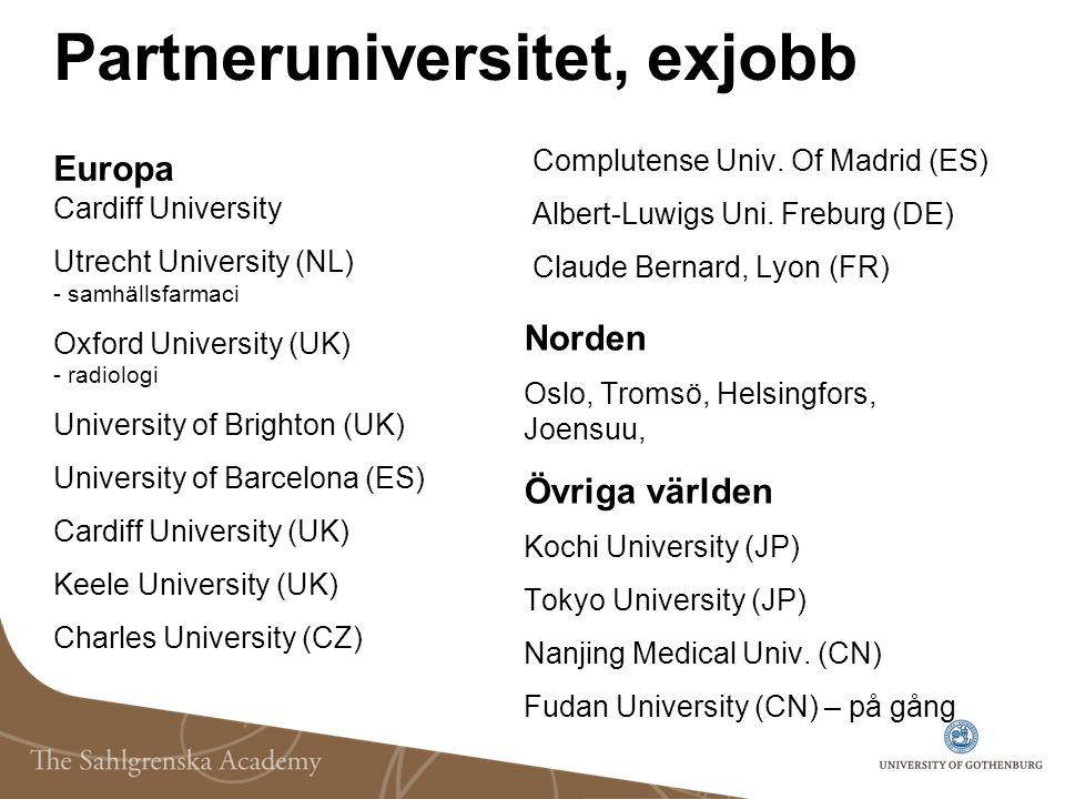 Partneruniversitet, exjobb