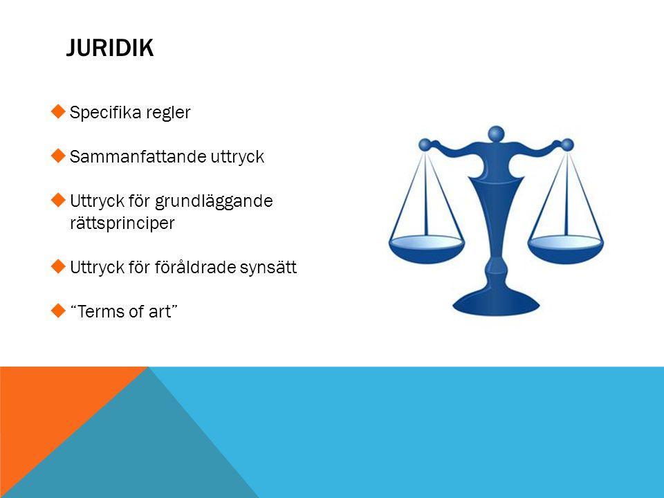 Juridik Specifika regler Sammanfattande uttryck