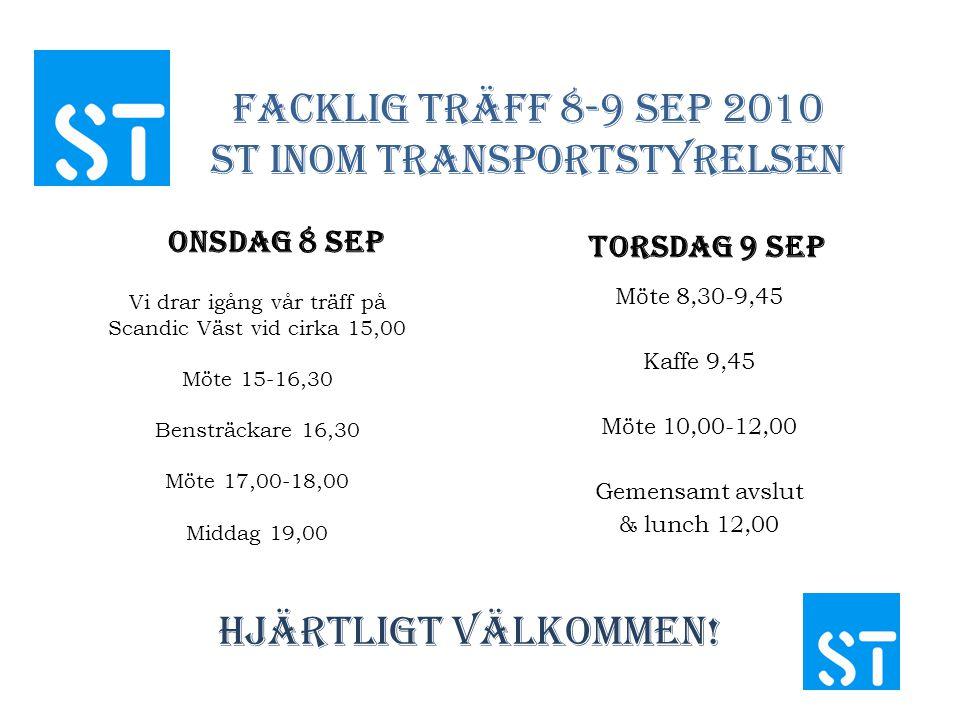 Facklig Träff 8-9 sep 2010 St inom Transportstyrelsen