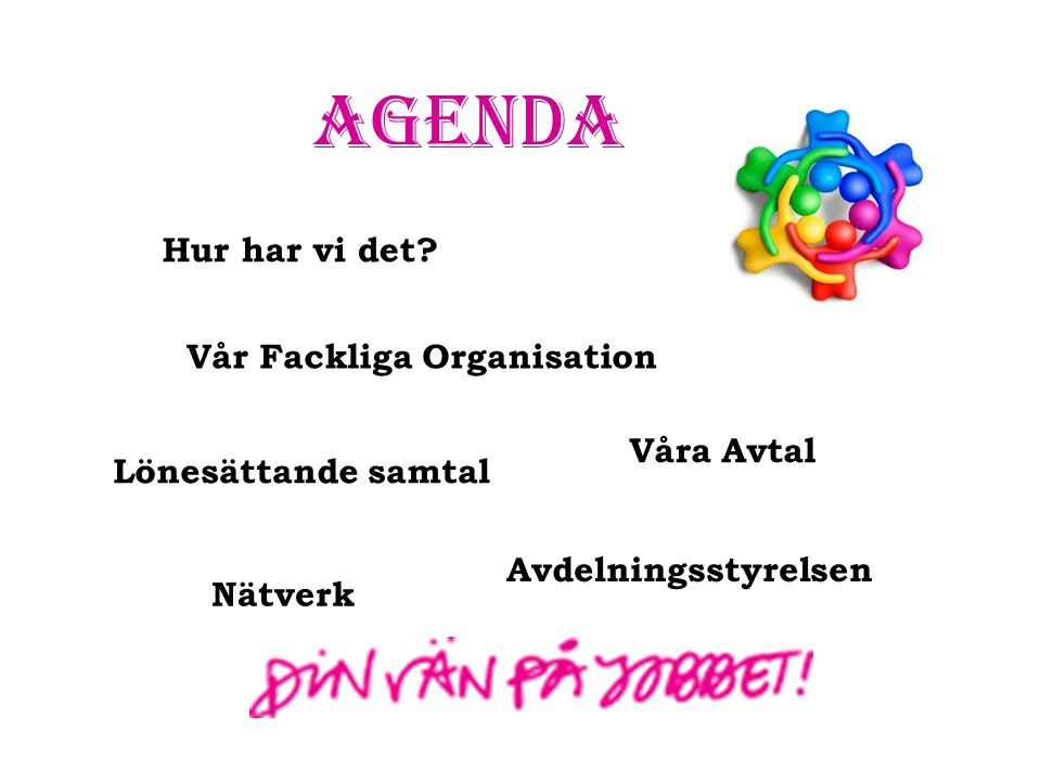 Agenda Hur har vi det Vår Fackliga Organisation Våra Avtal