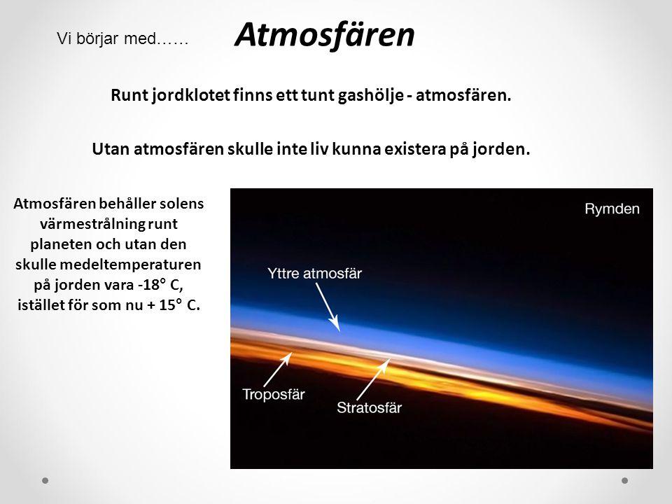 Atmosfären Vi börjar med…… Runt jordklotet finns ett tunt gashölje - atmosfären. Utan atmosfären skulle inte liv kunna existera på jorden.