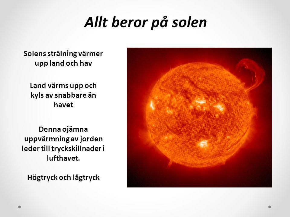 Allt beror på solen Solens strålning värmer upp land och hav