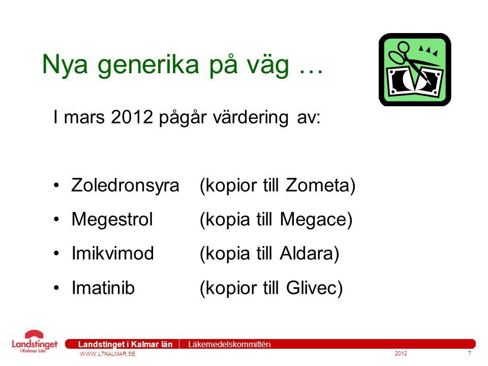 Nya generika på väg … I mars 2012 pågår värdering av: