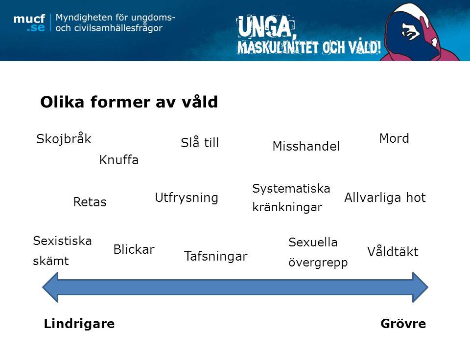 Olika former av våld Skojbråk Mord Slå till Misshandel Knuffa