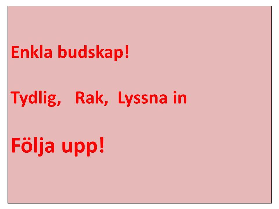 Enkla budskap! Tydlig, Rak, Lyssna in Följa upp!