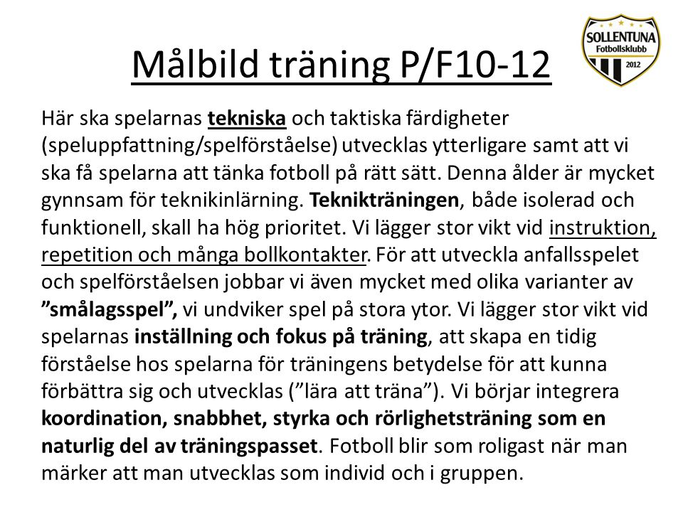 Målbild träning P/F10-12