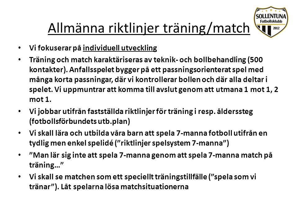 Allmänna riktlinjer träning/match