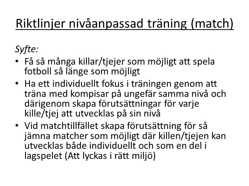 Riktlinjer nivåanpassad träning (match)
