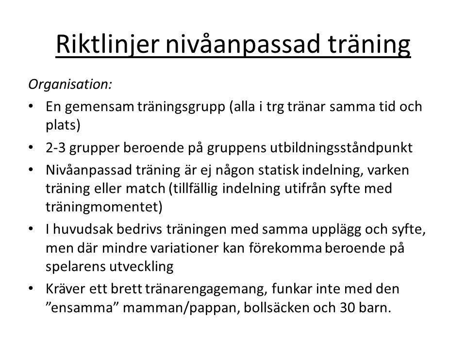 Riktlinjer nivåanpassad träning