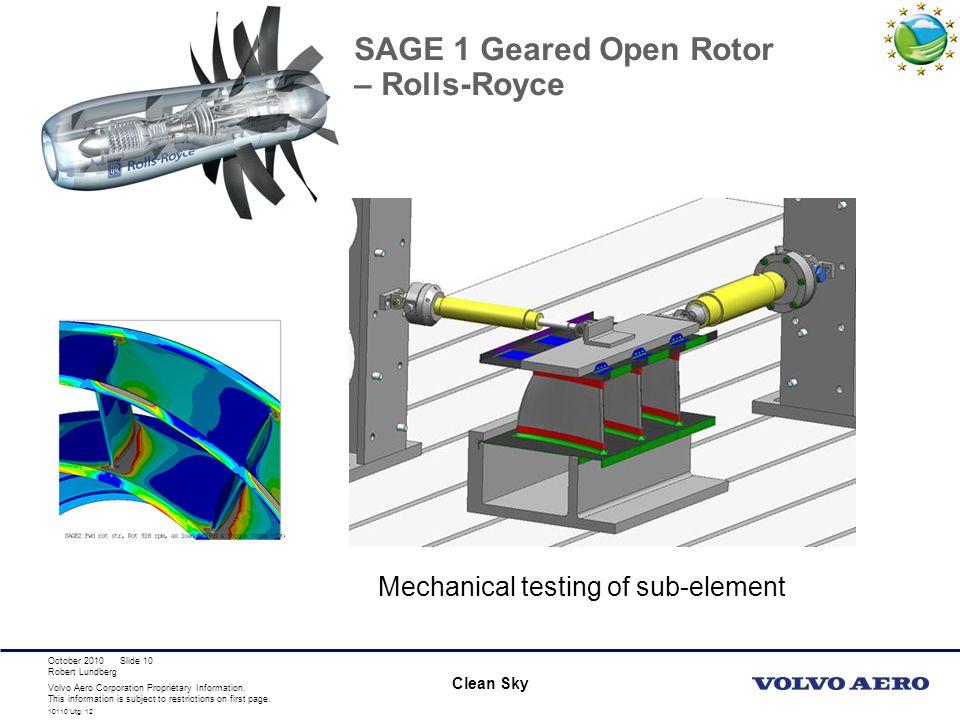 SAGE 1 Geared Open Rotor – Rolls-Royce